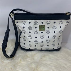 MCM white navy leather Visetos Shoulder Bag